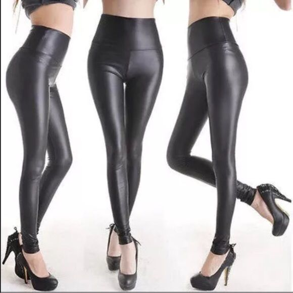 Faux leather Strech leggings Beautifull And comfy !!!! One size stretching pants , matt color black ,faux leather , waist hight , go trew small To Large . I offer bundle on 2 or more items. I ship same say or Max best day. New !!! Thank You And happy shopping !!! Pants Leggings
