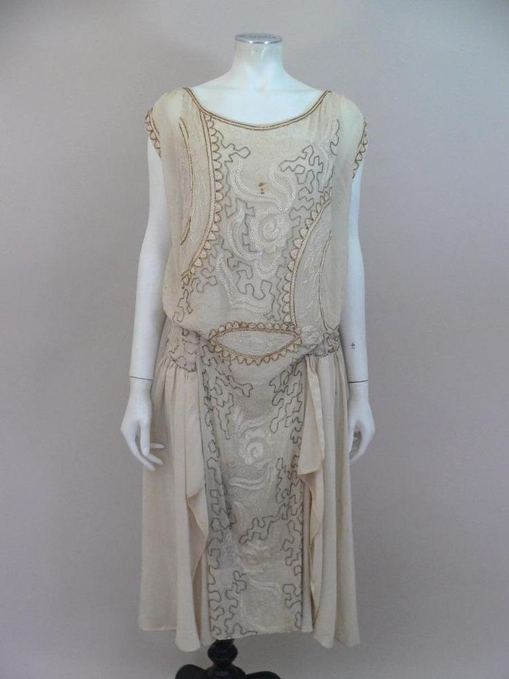 Spectacular original 1920s beaded chiffon flapper dress for repair - UK 8 /10