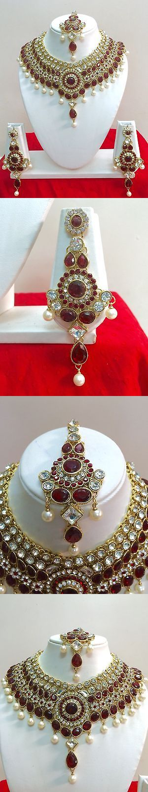 Sets 98513: Indian Bollywood Style Diamante Kundan Pearl Gold Tone Bridal Jewelry Set BUY IT NOW ONLY: $38.99