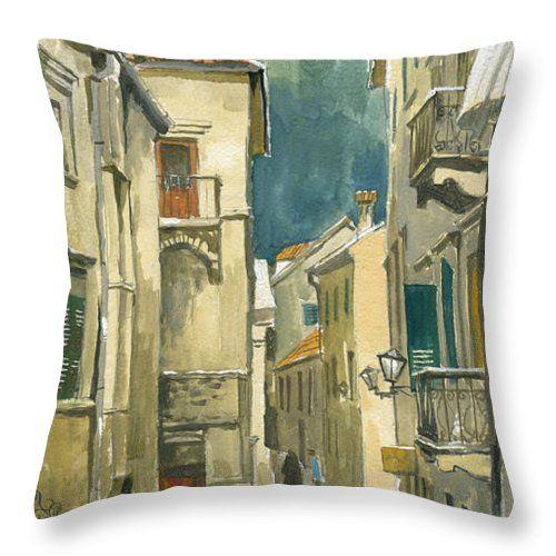Montenegro Throw Pillow featuring the painting Montenegro. Kotor. Rainy Day by Igor Sakurov #RussianArtistsNewWave #IgorSakurov #Painting #ArtForHome #Pillow #Patel #Beige