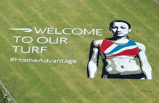British Airways have painted this under the flight path at Heathrow #PRStuntOlympics Gold, British Olympics, London 2012, 2012 Olympics, Jessica Ennis, Olympics 2012, Tennis Court, British Airways, Flight Paths