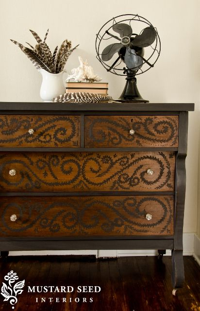I have a dresser like this that I could redo...even have the fan and books - entry way or guest bedroom