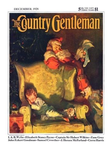 """Sleeping Through Santa's Visit,"" Country Gentleman Cover, December 1, 1928 Giclee Print by Haddon Sundblom at AllPosters.com"