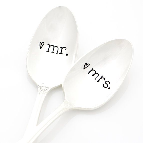 Mr. and Mrs. Spoons. Hand Stamped by MilkandHoneyLuxuries on Etsy