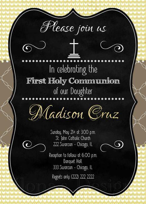 Chalkboard First Communion Invitation - Boy 1st Communion Invite - Printable Invitation - Holy Communion - Christening Invite by Ilona's Design on Etsy I /ilonaspassion/