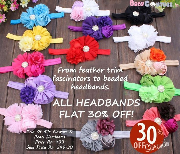 ALL HEADBANDS FLAT 30% OFF!  From feather trim fascinators to beaded headbands Babycouture.in has it all at flat 30% OFF!  Shop online at http://www.babycouture.in/accessories/hair-accessories.html or Whatsapp at 09780999000 or 09464001288