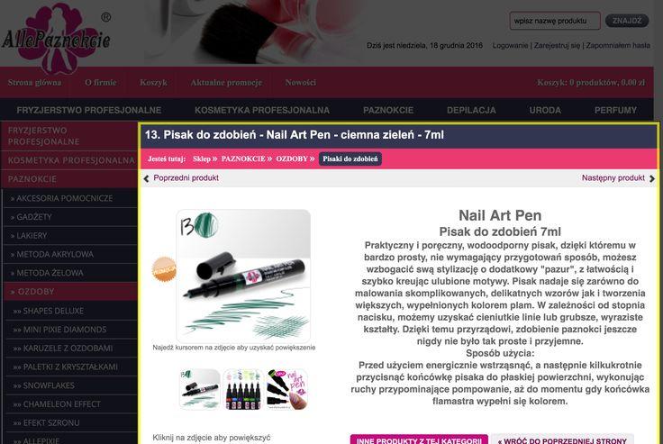 13. Pisak do zdobień - Nail Art Pen - ciemna zieleń - 7ml
