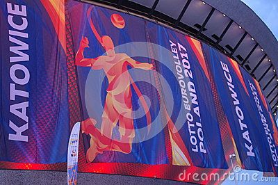 Banners of the 2017 Men`s European Volleyball Championship, hosted by Poland from 24 August till 3 September 2017,  at Spodek arena in Katowice, Poland