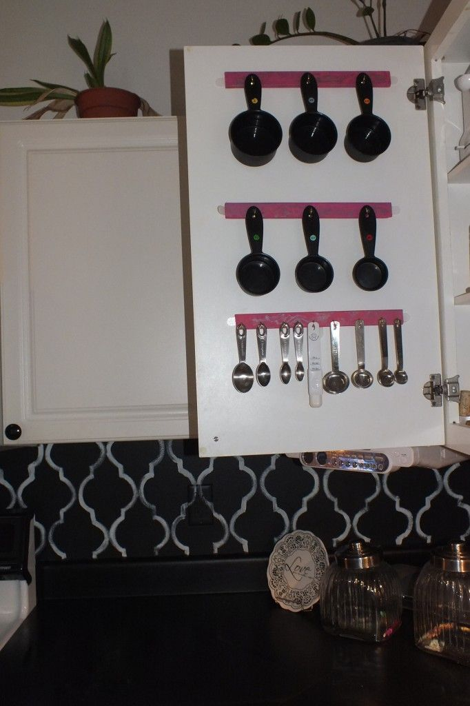 Easy tutorial on how to hang utensils inside the cupboard