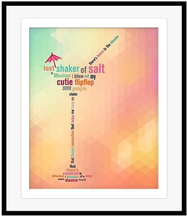 Jimmy Buffett Lyric Art Poster Margaritaville Song Lyrics Artwork Music Gift