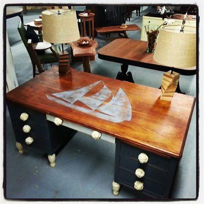 Painted Furniture, Nautica, Nautical, Desk, Design, Shop, Chalkpaint,  Sailboat