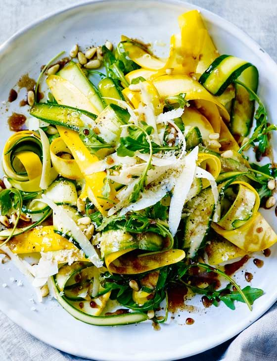 The ideal spring lunch or light dinner: balsamic courgette, pine nuts and Parmesan salad. Simply delicious.