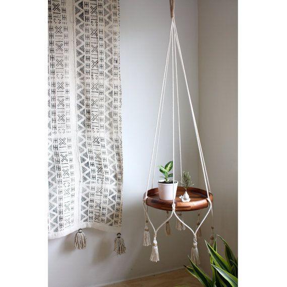 Natural Cotton Hanging Table, White Hanging Planter, Macrame Plant Hanger, Rope Plant Hanger, Hanging Shelf, Bohemian Home Decor, Bar Cart