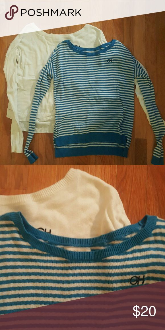 Bundle of gh sweaters Off the shoulder fit with a high low bottom. Looks reallycute with a scarf or jacket. One is striped blue and white. The other is a CLEAN solid white Gilly Hicks Sweaters Crew & Scoop Necks