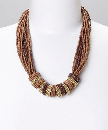 Gold & Brown Gem Beaded Multistrand Necklace