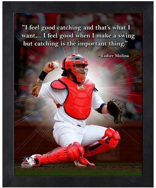 "Yadier Molina St. Louis Cardinals - 11"" x 1 4"" Framed ""Pro Quotes"""