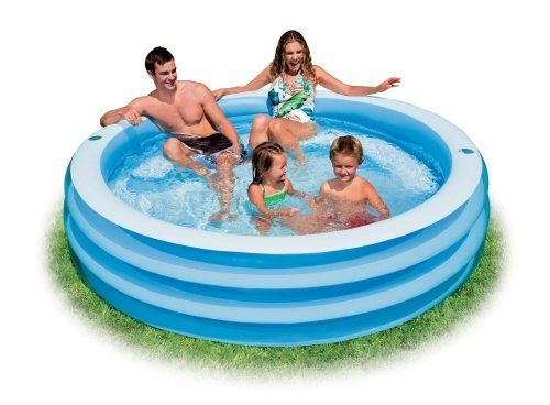 "Intex Recreation Swim Center Blue Round Pool, Age 6+ by Intex. $34.95. From the Manufacturer                Sit and relax in this 80"" x 22"" round blue inflatable pool. Semi-circular air-filled lounge seat for lots of comfort."
