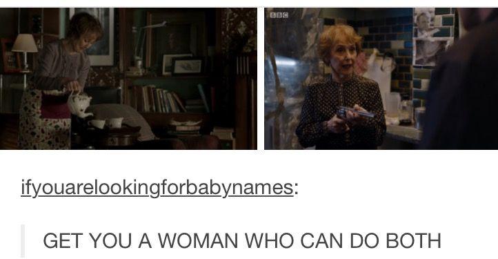 Mrs. Hudson kicking butt & having Sherlock locked in the trunk