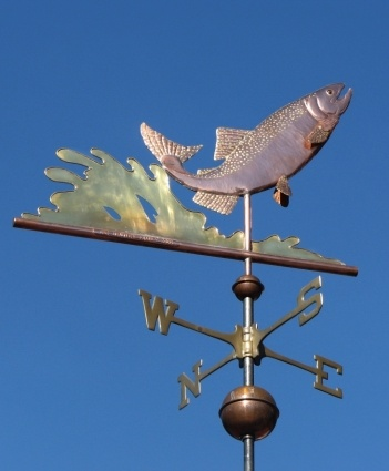 King Salmon Weather Vane, Leaping by West Coast Weather Vanes.  This handcrafted salmon weathervane can either be custom made in all copper or the body in copper and the fins and tail in brass for a subtle distinction between the metals.