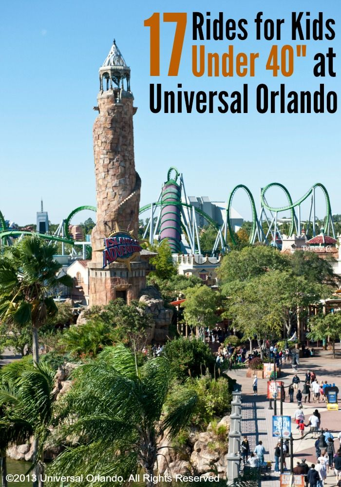 """Planning a trip to Universal Orlando with little ones? Here are 17 rides and play areas for kids under 40"""" tall. We took our not quite three year old last summer and there was TONS for him to do!"""
