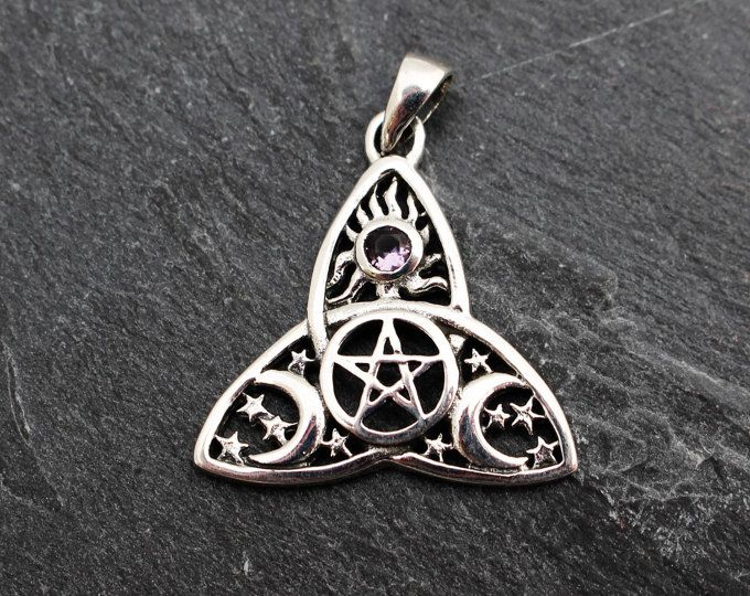 Sterling silver Celtic Triquetra Cross Necklace for Mens