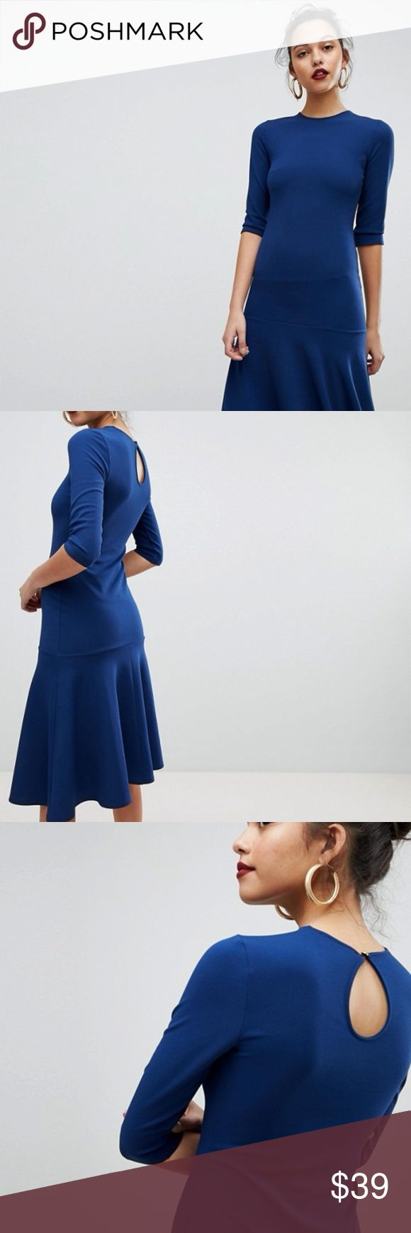 ASOS: Club L Kick Flare Scuba Crepe Dress PRODUCT DETAILS - Evening dress by Club L - Crew neck - Flared skirt - Button-keyhole back - Slim fit - A narrow cut that sits close to the body ASOS Dresses