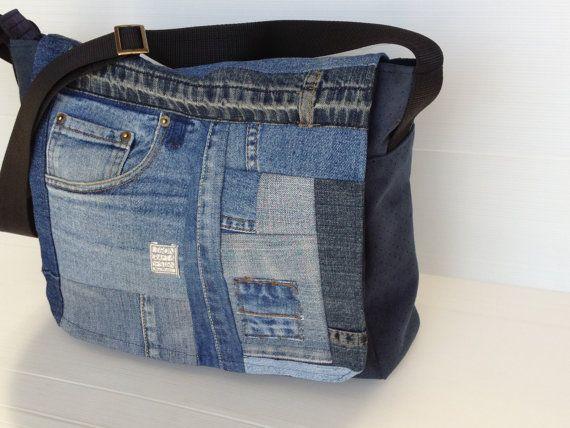 vegan men messenger bag, upcycled jeans bag,cross body bag, over the shoulder bag, laptop bag, work bag,hipster bag, blue jeans flap