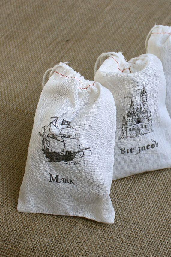 Custom Hand Printed Muslin Goodie Bags by StillRiverPress on Etsy