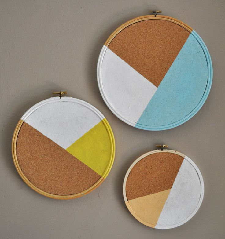Pie chart pin board DIY. Cork, tapestry frame, paint.