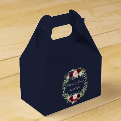 Marsala Floral Wreath Navy Blue Wedding Favor Box - rustic gifts ideas customize personalize