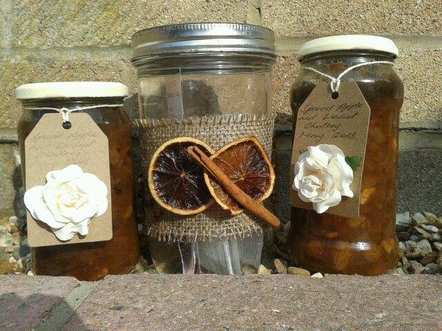 Recipe jar and homemade chutney!
