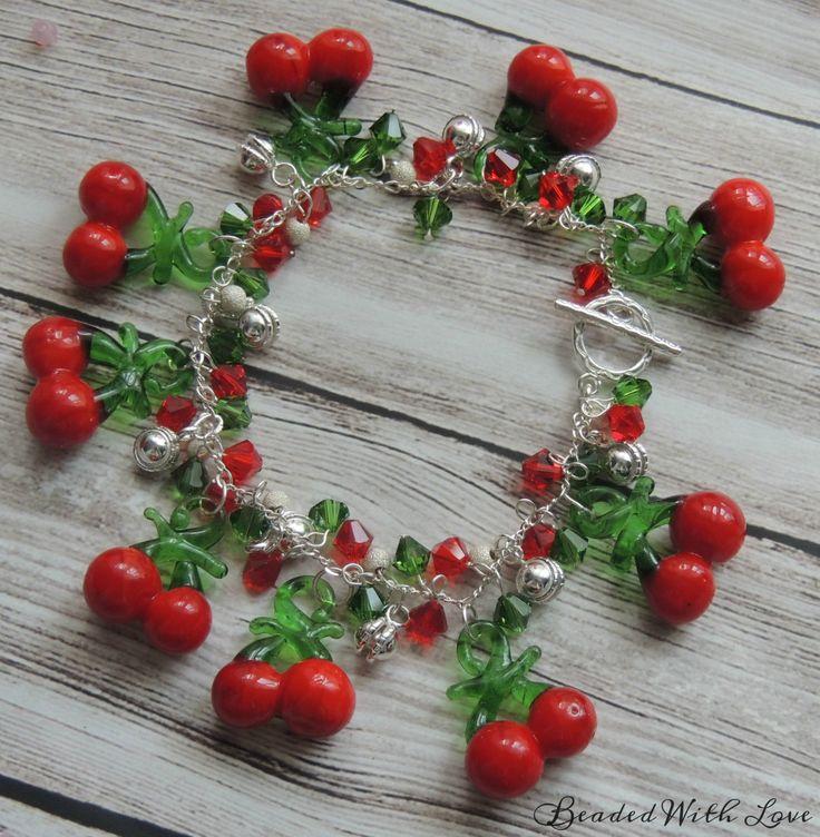 Sterling Silver Mistletoe Charm Bracelet by BeadedLoveBoutique on Etsy