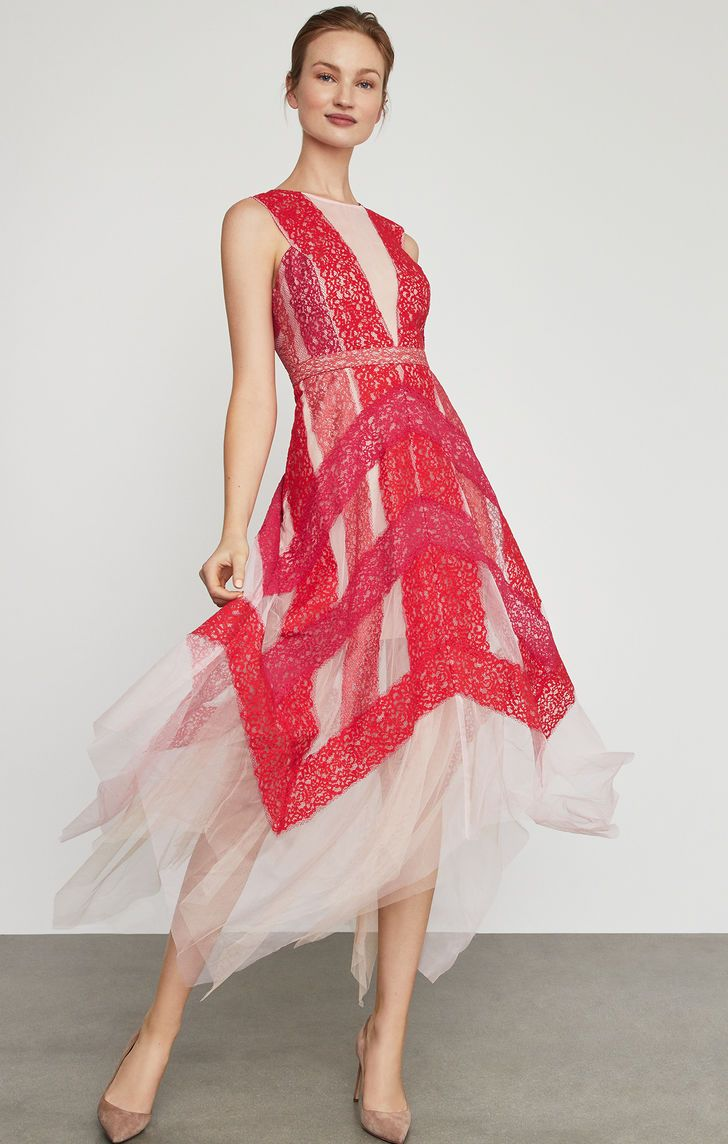 BCBGMAXAZRIA Womens Handkerchief Floral Shirt Dress