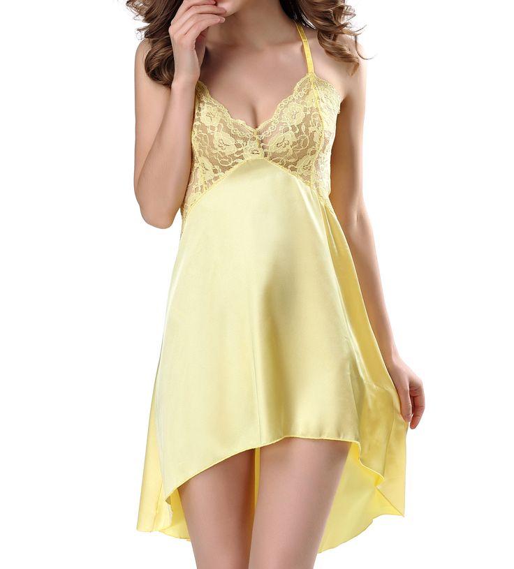 £10.69 buy now - iKupvida Satin Nightwear for Women Irregular Lace Babydoll Lingerie