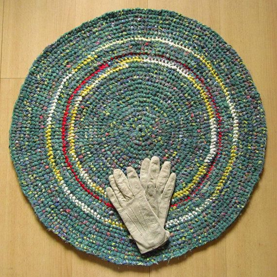 26 inch, round crochet rug, pale green, handmade, upcycled, recycled #etsy #recycle