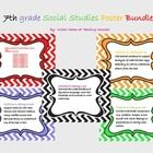 Modern looking chevron pattern background surrounds each of the 7th grade Social Studies standards, including the Common Core Literacy in History/S...
