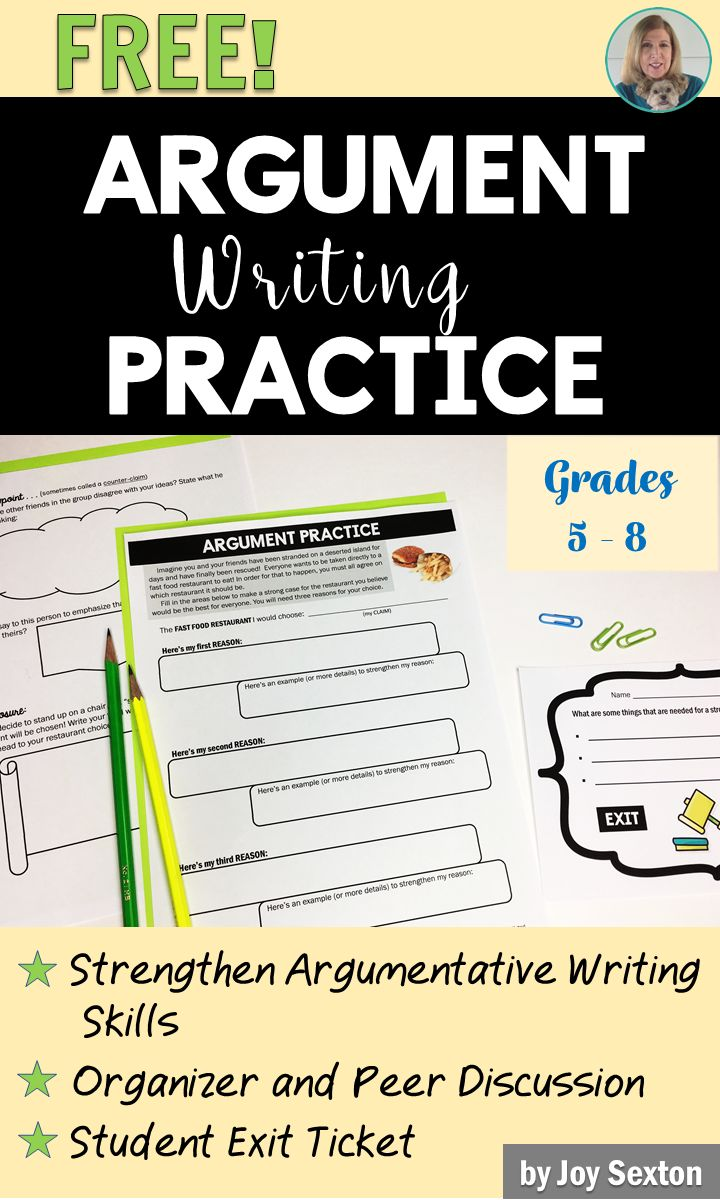 FREE! Help your students to better understand argumentative writing with this fun practice resource! Download it now and use it tomorrow in your classroom.