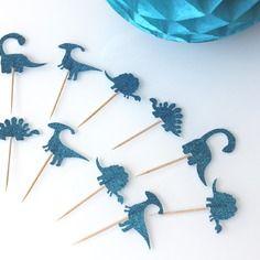 10 décorations pour petits gâteaux (cupcakes toppers )- dinosaures bleus à paillettes