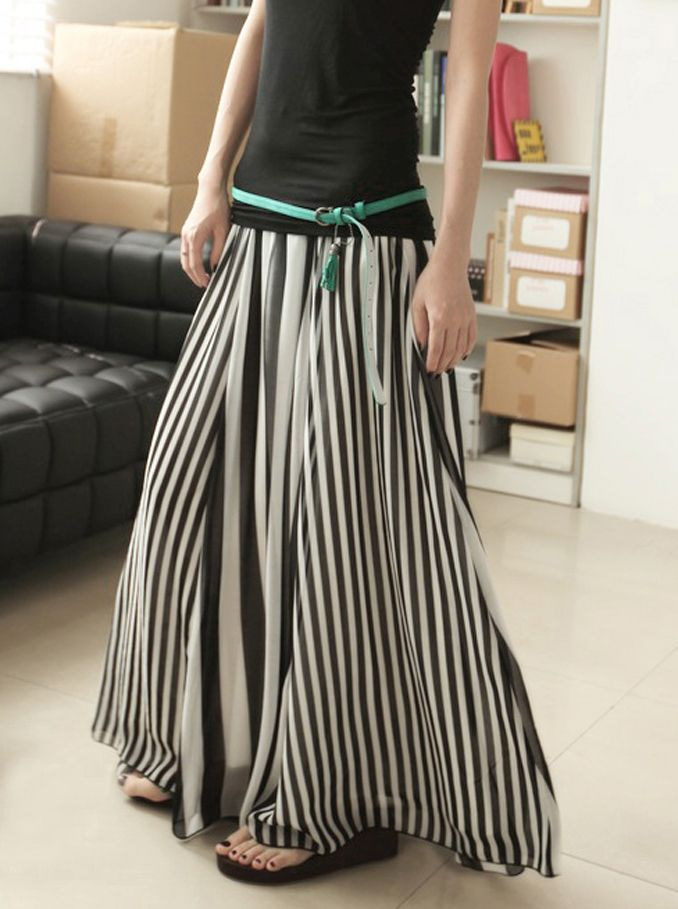 Simply Chic. Monochrome Chiffon Black And White Stripes Long Skirt
