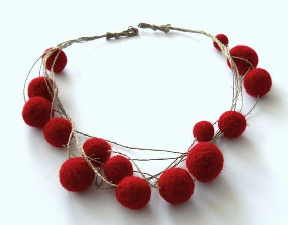 tangled felt bead necklace
