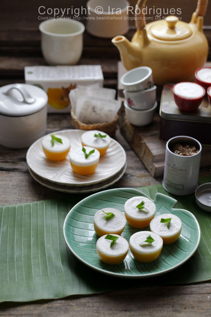 Indonesian food. Steamed pumpkin cake with coconut milk, Kue talam labu kuning