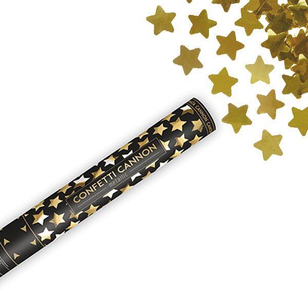 Cañon de confeti estrellas dorado XL