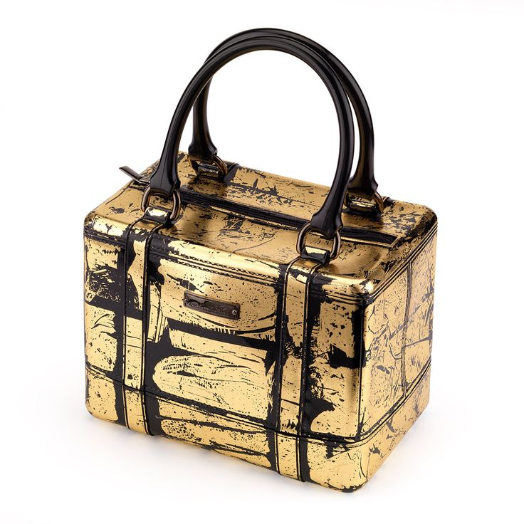 Satchel handbag in PVC, gold plated and metal plate