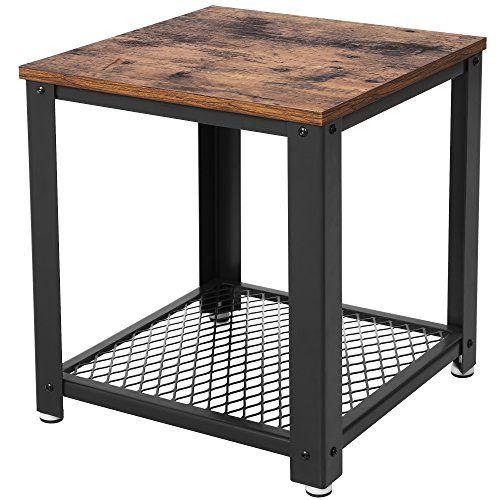 Vasagle Table D Appoint Table Basse Avec Rangement Armature En Metal Pour Cuisine Chambre Style Indust Side Table With Storage Wood End Tables Metal End Tables