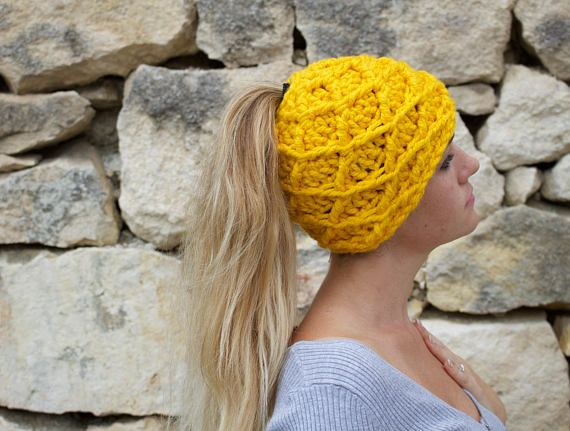 Messy Bun Hat with beautiful texture using the diamond stitch. Made in Italy, two available.