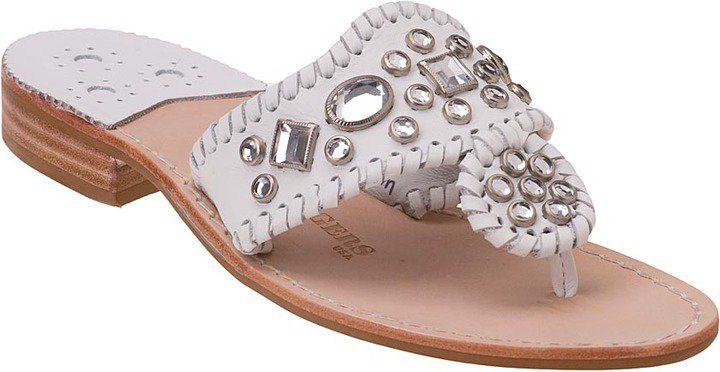 """Pin for Later: Sagt """"Ja, ich will"""" zu diesen Schuhen Jack Rogers verzierte Sandalen Jack Rogers Zsa Zsa white leather sandals ($148)"""