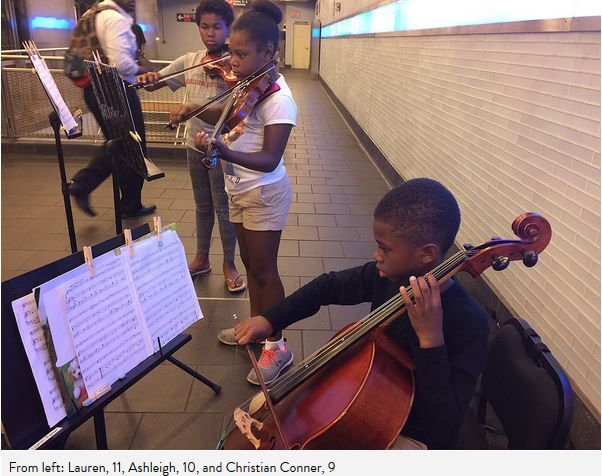 Young Siblings Play Classical Music in NYC Subway To Raise Money For Homeless - http://urbangyal.com/young-siblings-play-classical-music-nyc-subway-raise-money-homeless/