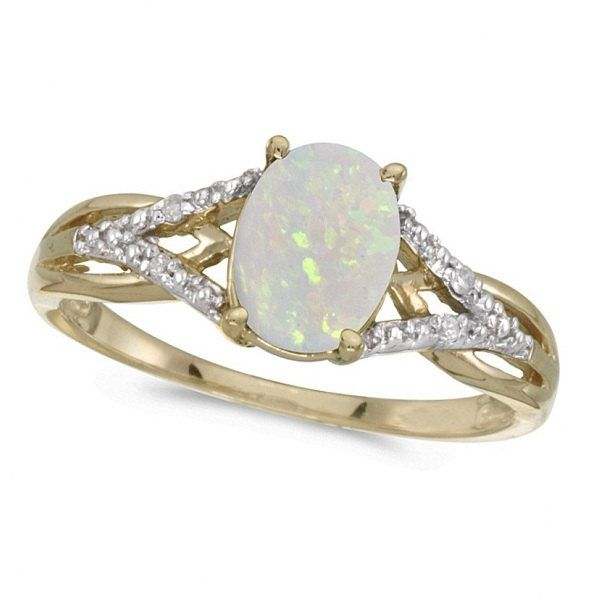 Oval Opal and Diamond Cocktail Ring 14K Yellow Gold by Allurez, $472.50