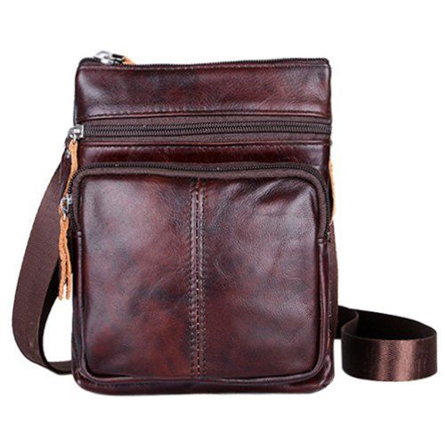 Fashion Solid Color and Zip Design Messenger Bags For Men - BLACK BROWN