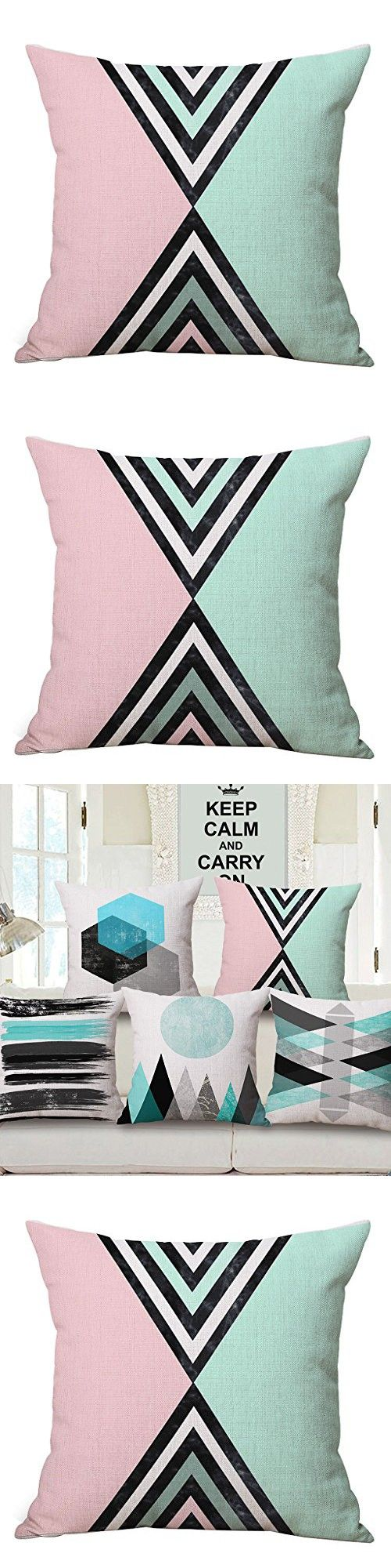 JES&MEDIS Colorful Geometric Throw Pillow Cushion Cover Home Decor Pillowcase 18x18 inch